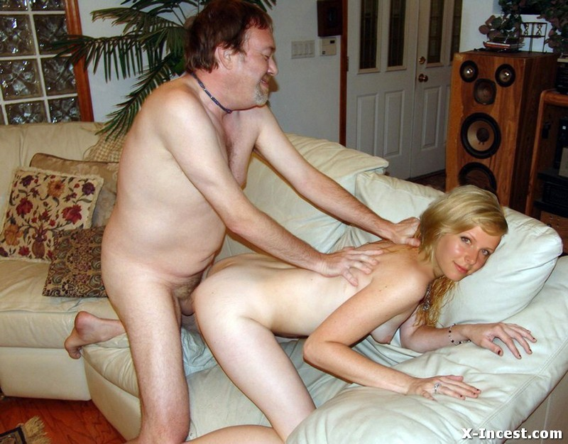 Very young daughter teasing dad